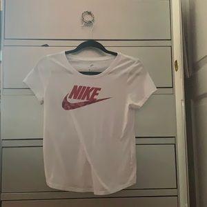 nike white shirt pink nike symbol